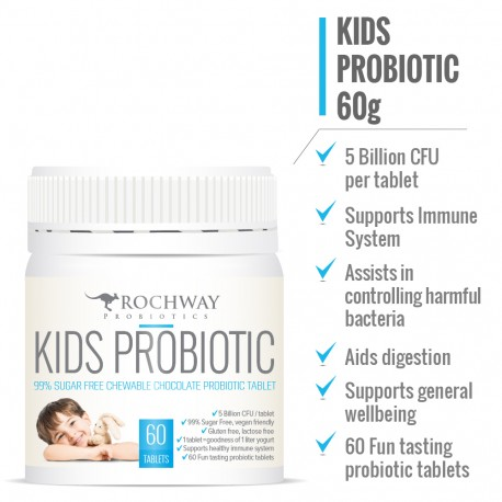 Rochway 99% Sugar Free Chewable Chocolate Kids Probiotic Tablets 60 Tablets