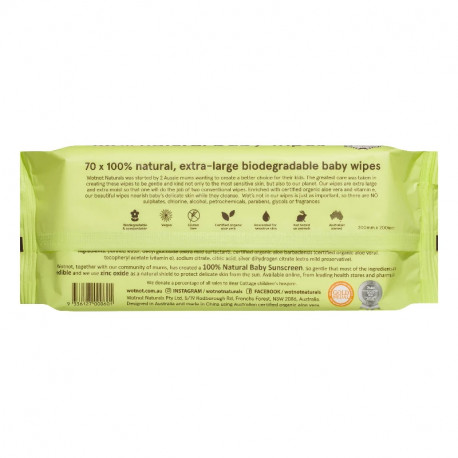 WOTNOT 100% Natural Baby Wipes - 70 Sheets